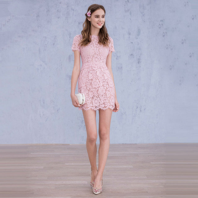 195c6a325 2016 Cheap Pink Lace Short Graduation Dresses with Short Sleeves Sweet 16  Dress Short Homecoming Cocktail