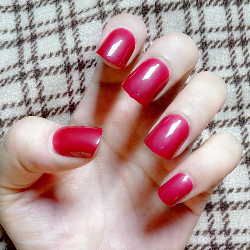 Candy False Nail Tips Fashion Dim Red Fake Nails Acrylic Nails Press ...