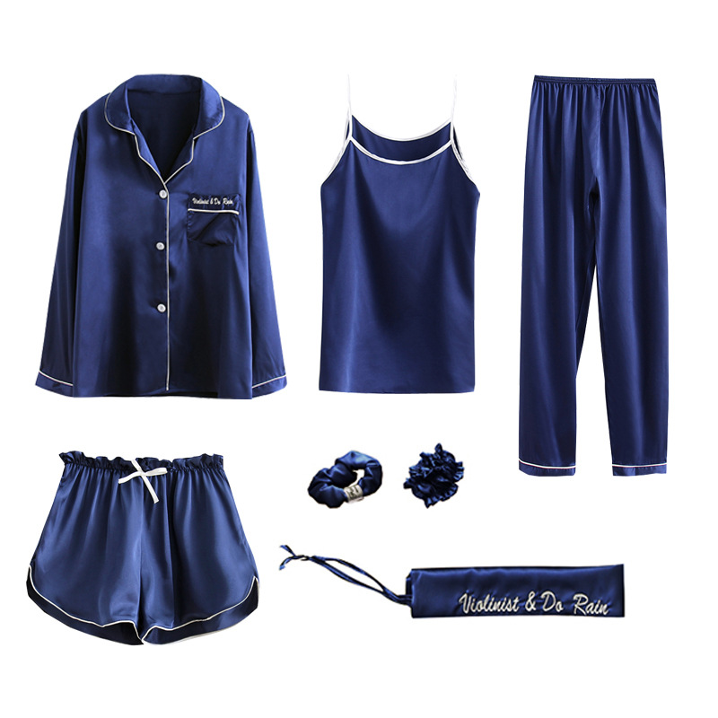 Pajama     sets   7 piece   pajamas   for women summer silk summer home service suit shorts sling sleepwear   set   clothing