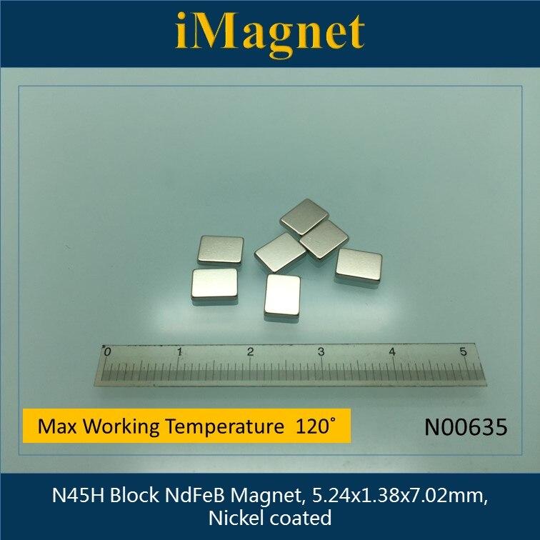 N00635 20pcs N45H Block strong Rare Earth Neodymium Magnet,5.24x1.38x7.02mm,Cuboid Ndfeb Magnet ,Home Decorations Fridge Magnet