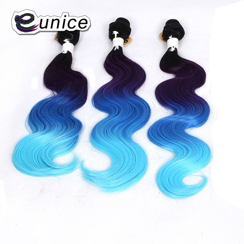 Eunice hair extensions body wave ombre hair bundles t bluelight eunice hair extensions body wave ombre hair bundles t bluelight blue sew in synthetic fiber machine double hair weft for women in underwear from mother pmusecretfo Images