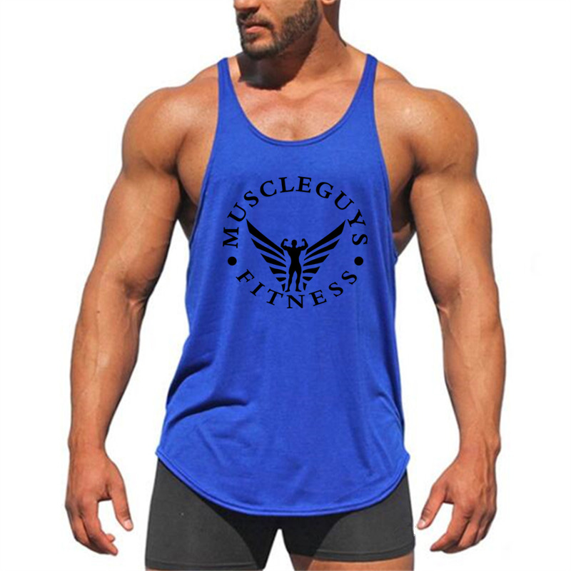 Muscleguys Brand Fitness Clothing Bodybuilding Stringer Gyms   Tank     Top   Mens Singlet Cotton Sleeveless shirt Workout Vest