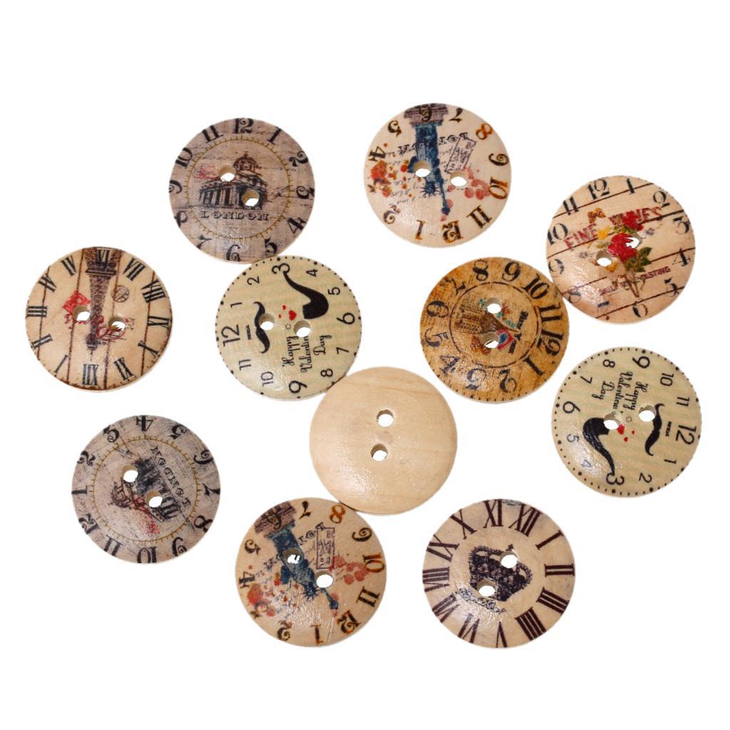 Pois Forme Ronde Couleur 2 Trous en Bois Couture Craft Scrapbook Boutons-UK