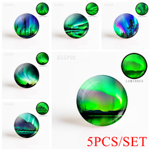 5PCS/SET Northern Lights Round 12/16/20/25/30mm Luminous Glass Dome Cabochon Handmade Aurora Jewelry Making Glowing In The Dark
