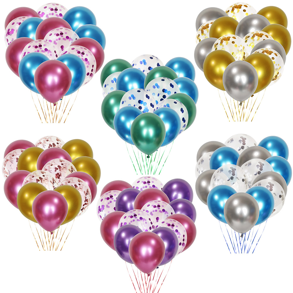 15Pcs 12 inch Metal Agate Sequin Balloon Set Marbled Birthday Party Decoration Valentines Day Wedding Confetti Ballon