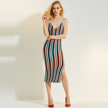 Young17 Autumn Dress Women 2017 Blue Stripe Color Block Knitted Bodycon Spaghetti Strap Backless Dress Women Bodycon Dress