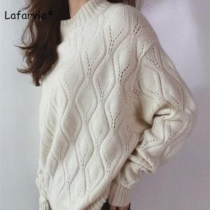Image 3 - Lafarvie dzianinowy sweter z mieszanki kaszmiru kobiet jesienno zimowy sweter z golfem Hollow sweter kobiecy wzór w romby luźny sweter
