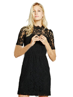 Circle Open Back See Through Hand Made Crochet Women Dress Black Lace Floral Pattern Hollow Out