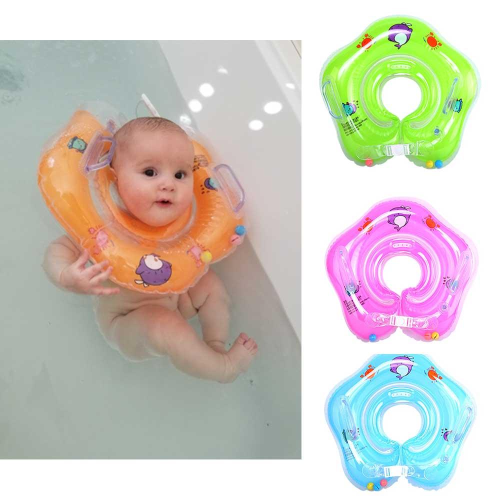 Baby Neck Float Swimming Newborn Baby Swim Neck Ring Pump Mattress Cartoon Pool Swim Wheel For 0-24m Kids Swim Pool Accessories