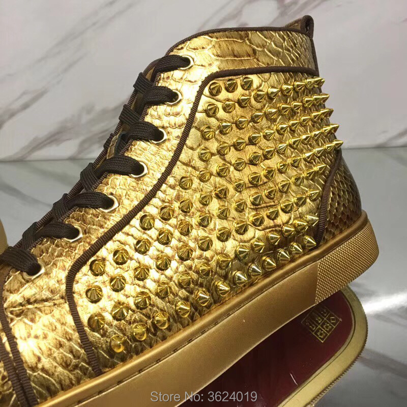 High cut cl andgz Golden Snake Lace Up Outdoor Sports Red Bottoms For Man  Shoes Sneakers Leather Loafers 2018 Footwear Spring-in Men s Casual Shoes  from ... cb57e9ba0a8d