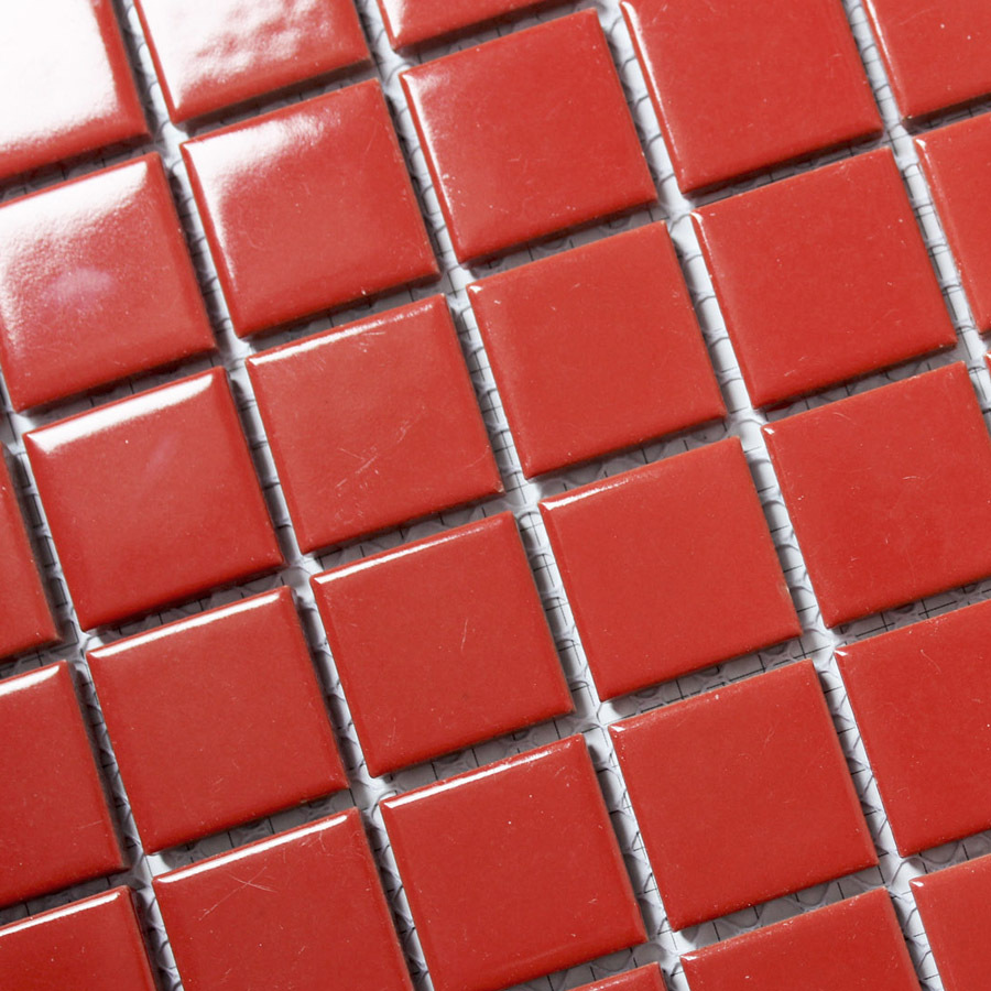 - Red Kitchen Backsplash Tiles Porcelain Mosaic Red Glossy Bathroom