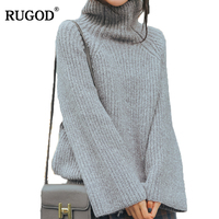 Rugod Sweater Women Turtleneck Pullover 2018 Winter Autumn Solid Long Flare Sleeve Loose Casual Knitted Jumper
