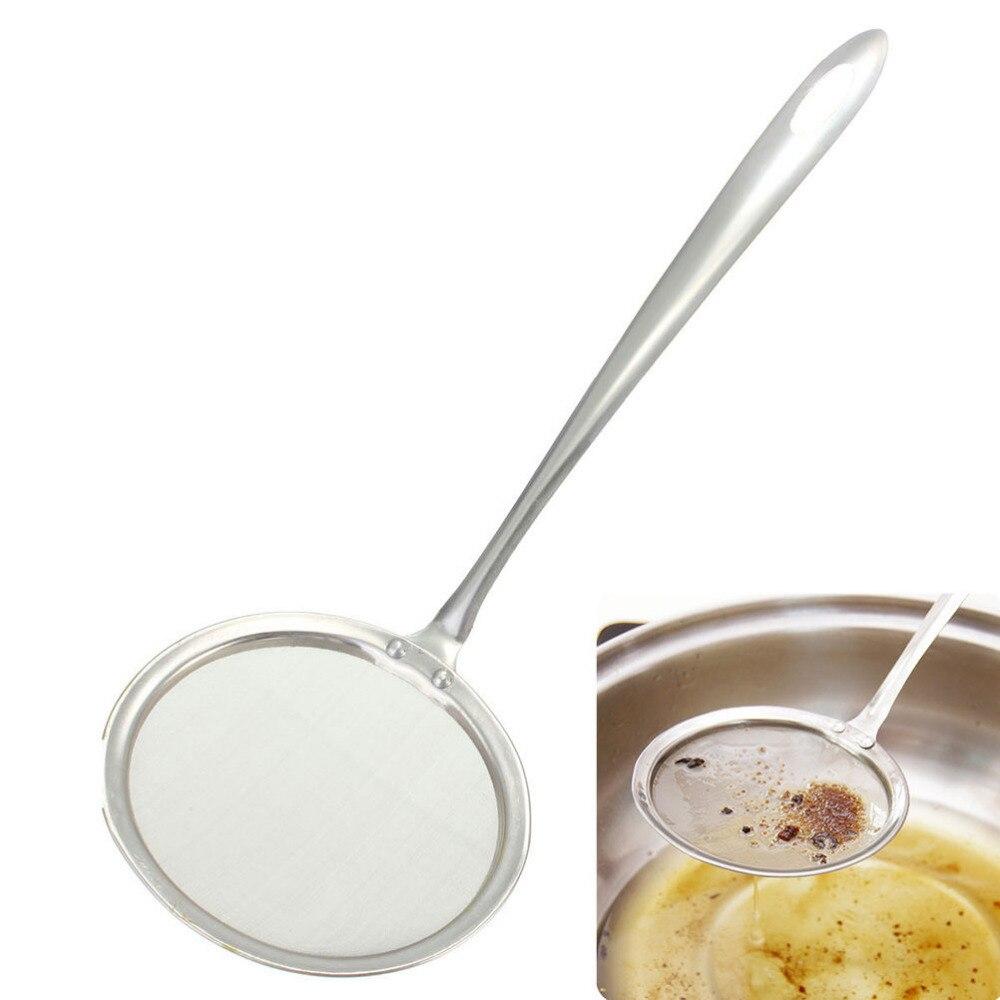 Kitchen Stainless Steel Fine Mesh Skimmer Flour Oil Strainer Colander Spoon