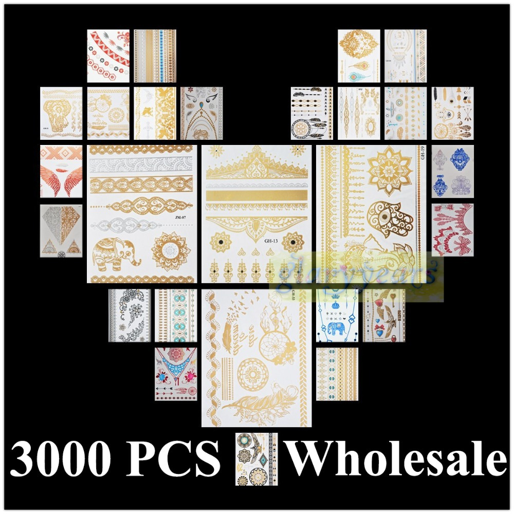 glaryyears 3000pcs Wholesale Bulk Order Free DHL Gold Silver White Black Henna 3D Metallic Temporary