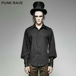 PUNK RAVE Männer Gothic Mode Neuheit Gestreiften Bluse Steampunk Schwarz Blau Langarm Vintage Palace Stil Tops Shirt