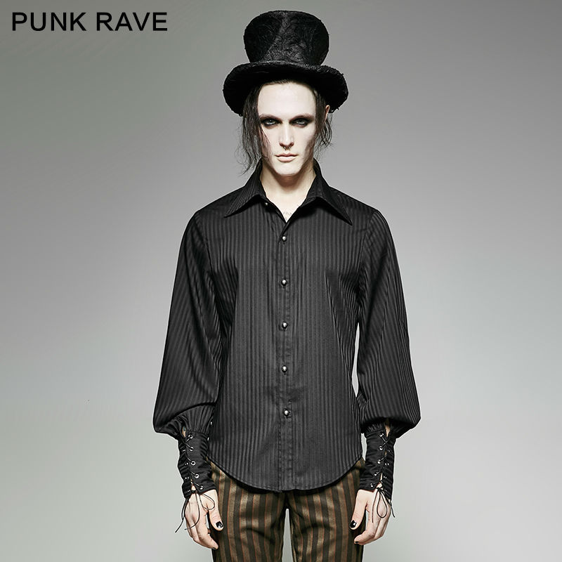 PUNK RAVE Men Gothic Fashion Novelty Striped Blouse Steampunk Black Blue Long Sleeve Vintage Palace Style Tops Shirt