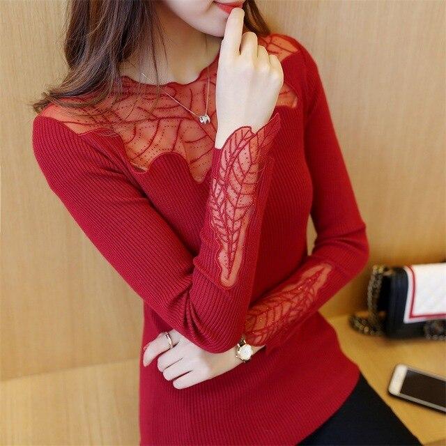 Noir automne pull femmes 2020 mignon tricoté femmes printemps à manches longues tricots surdimensionné Style coréen mince Femme rouge chandails