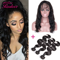 Pre Plucked 360 Frontal Band With Bundles Knots Bleached Peruvian Virgin Hair Body Wave 3 Bundles with 360 Lace Frontal Closure