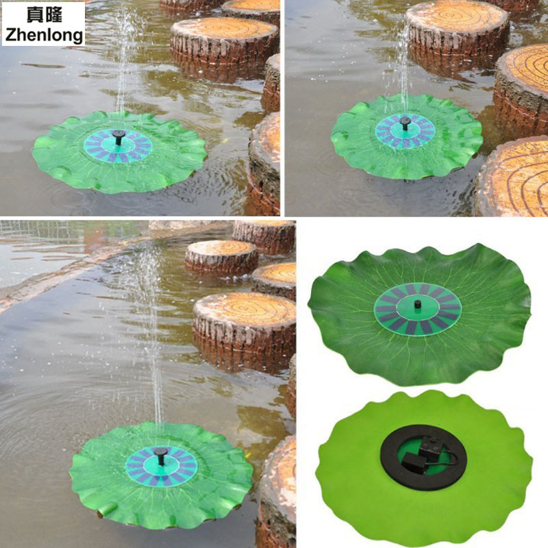 Фото Solar Power Water Fountain Garden Fountain Floating Green Lotus Leaf Shaped Artificial Outdoor Fountain for Multi-Application