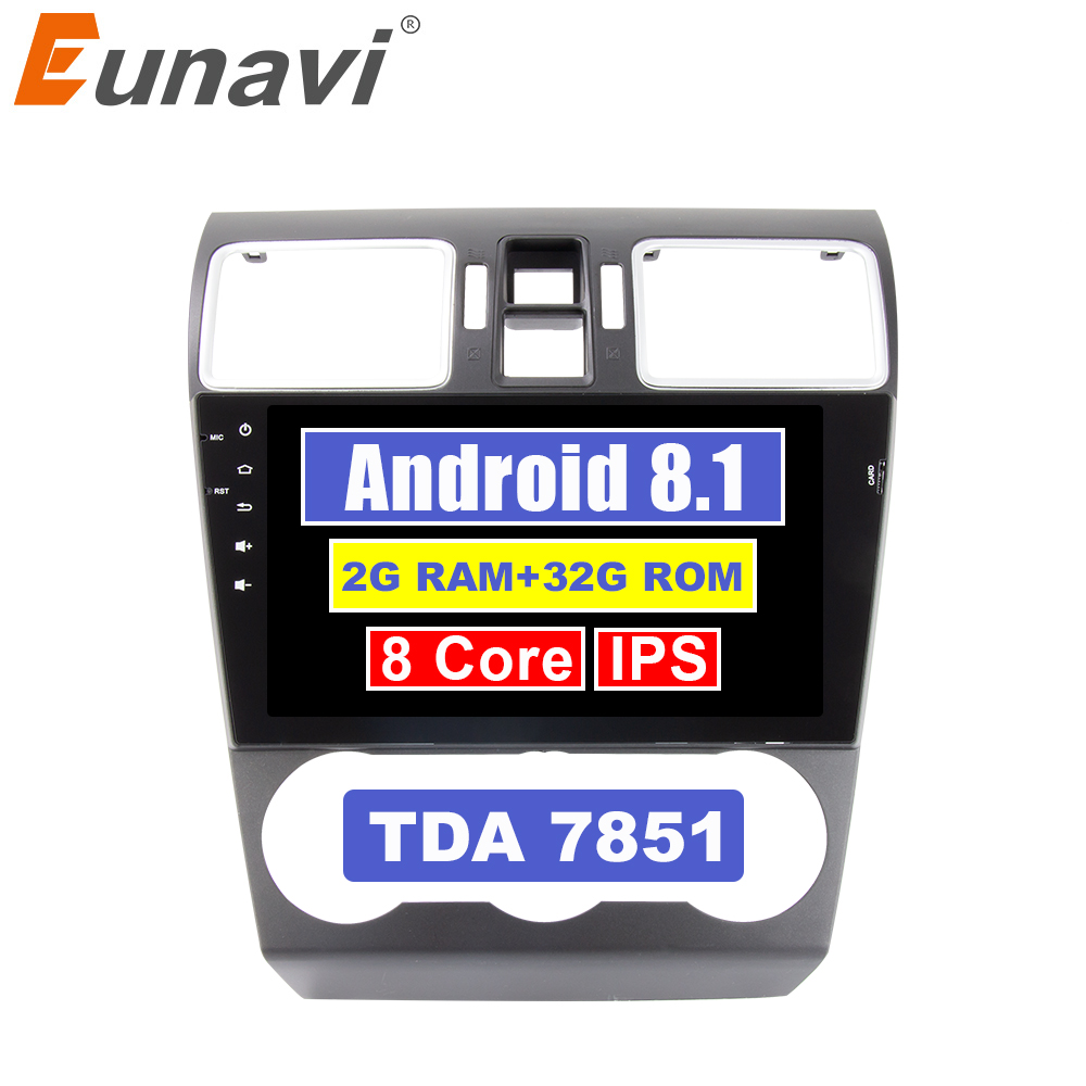 Eunavi 9'' 2 Din Octa core Android 8.1 Multimedia Car PC Radio Stereo Player for Subaru Forester XV WRX 2013-2018 GPS Navigation