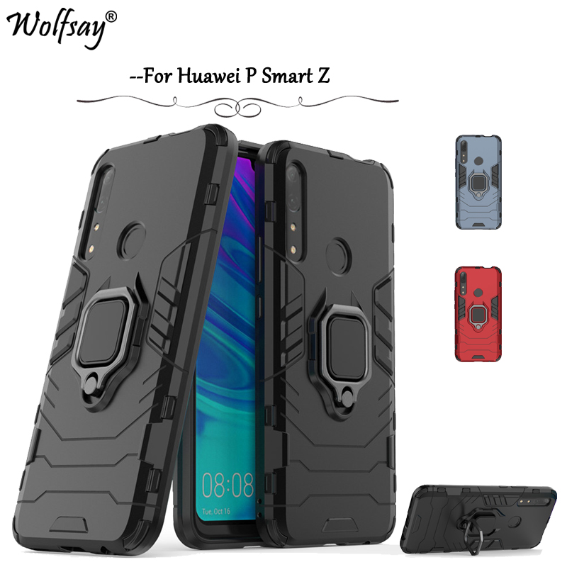 Huawei P Smart Z Case Luxury Armor Metal Finger Ring Holder Phone Bumper For Huawei P Smart Z Back Cover Huawei P Smart Z Fundas in Fitted Cases from Cellphones Telecommunications