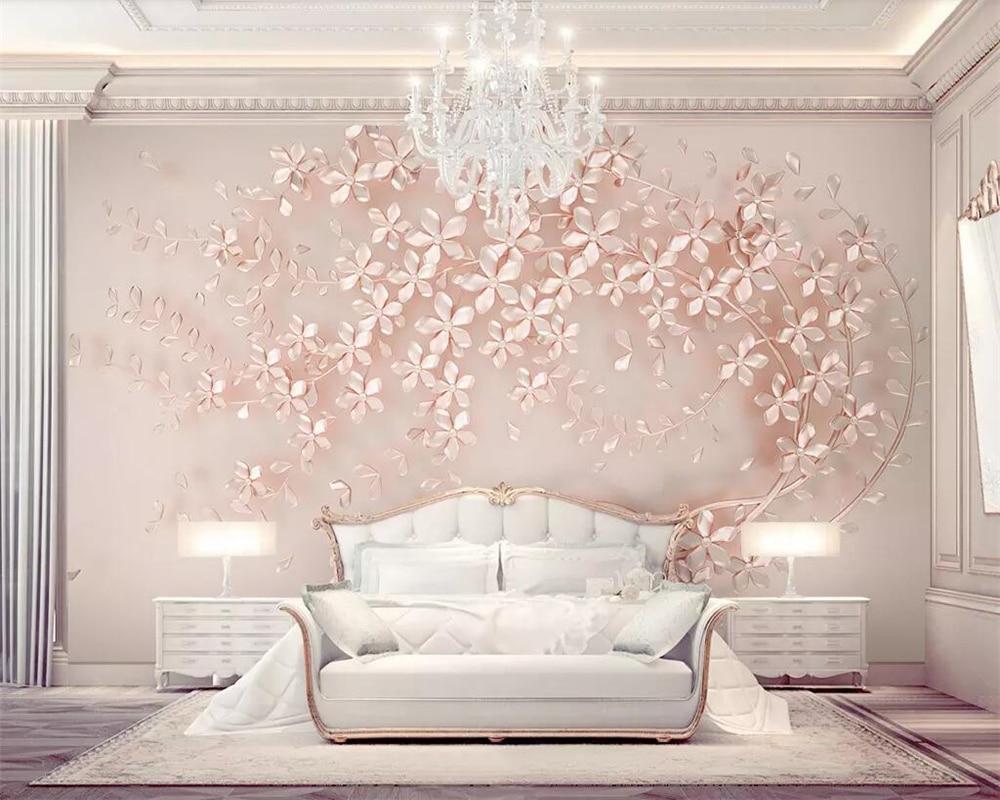 US $8 85 OFF Beibehang Wallpaper Kustom Foto Bunga Elegan Mewah 3D Stereo TV Latar Belakang Dinding Ruang Tamu Kamar Tidur Dekorasi 3D