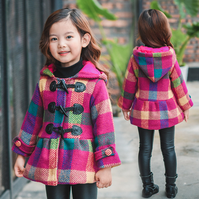 Quality Baby Girls Thick Warm Wool Coats Hooded Jackets Horn Button Plaid Outwear Clothing for Kids Girls