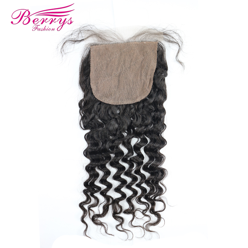 Berrys Fashion Brazilian Virgin Hair Deep Wave Silk Base Lace Closure 4x4 Human Hair Extensions