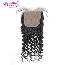 [Berrys Fashion] бразильские виргинские волосы глубокая волна шелковая основа Кружева Закрытие 4x4 человеческие волосы для наращивания натуральный цвет с детскими волосами