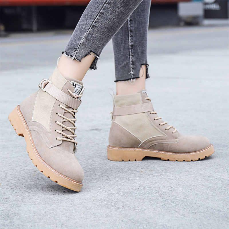 LZJ 2019 moda Vintage botas Mujer Zapatos Martin botas tobillo tacones bajos botas motocicleta cuñas altas puntera redonda bandada nuevo