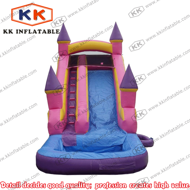 Business type portable pink castle inflatable trampoline slide with pool for rental part ...
