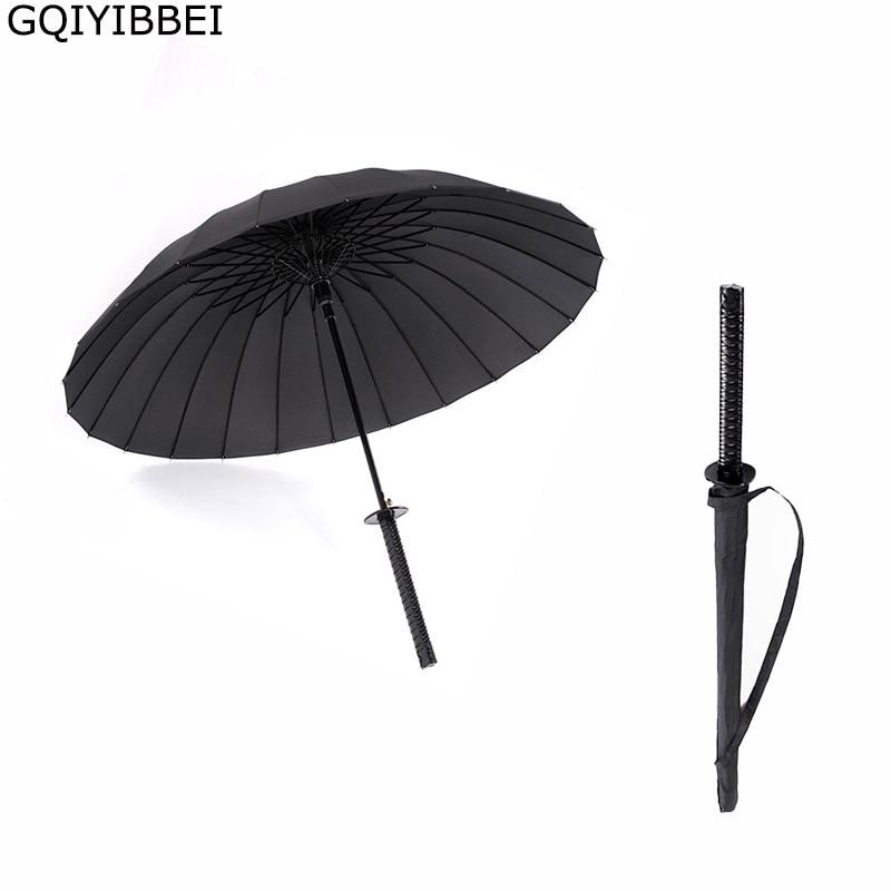 GQIYIBBEI Creative Long Handle Large Windproof Samurai Sword Umbrella Japanese Ninja-like Sun Rain Straight Umbrella Manual Open