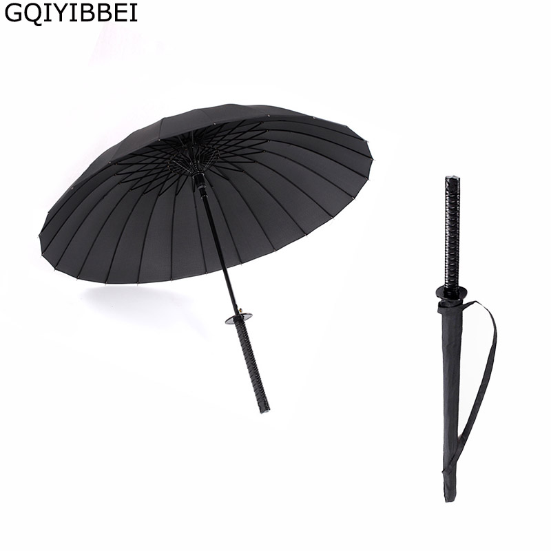 GQIYIBBEI créatif Long manche grand coupe-vent samouraï épée parapluie japonais Ninja-comme soleil pluie droit parapluie manuel ouvert