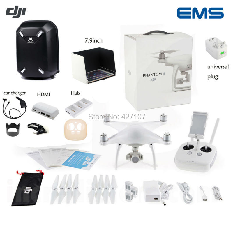 Fast Drop Shipping DJI Phantom 4 Quadcopter W/Extra Two Batteries+Hardshell Shoulder Backpack Bag+HDMI+Charging Hub+More Via EMS