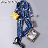 Осенние модные бабочки вышивка джинсовый комбинезон Для женщин штаны комбинезон Повседневное свободные ботильоны Длина брюки комбинезоны