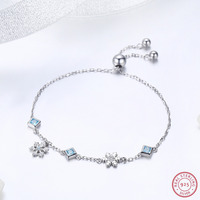 925 Sterling Silver Star Bracelets & Bangles for Women Jewelry Dancing Snowflake Charms Link Chain Bracelet With Zircon