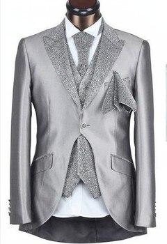 Custom Made One Button Groom Tuxedos Groomsmen Men's Wedding Prom Suits (Jacket+Pants+Vest+Tie) K:502