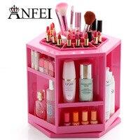 ANFEI Fashion New Design Rotate 360 Degrees Makeup Box Lipstick Holder Cotton Swab Box Cosmetic Brushes