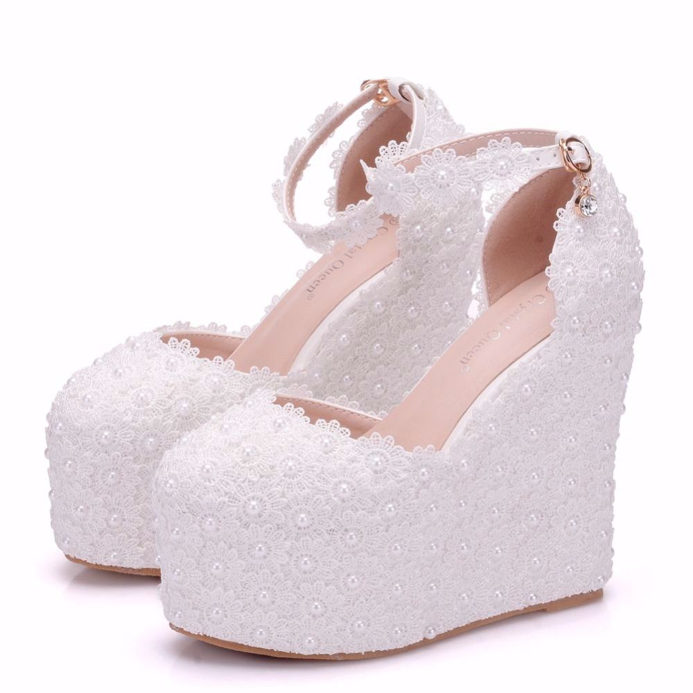 クリスタル女王13センチプラットフォームウェッジパンプスハイヒール靴女性ホワイトレースウェディングかかと丸いつま先プラットフォームシューズ高ウェッジ  グループ上の 靴 からの レディースパンプス の中 3