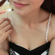 Imitation Pearls Invisible Bra Straps Dress Faux Single Row Clear Crystal Sex Chain For Bridal Wedding Prom