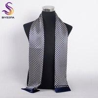 [BYSIFA] брендовый мужской шелковый шарф, глушитель, зимний модный аксессуар, 100% чистый шелк, мужские клетчатые длинные шарфы темно-синего цвет...