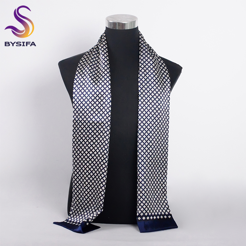 [BYSIFA] Brand Men Silk Scarf Muffler Winter Fashion Accessory 100% Pure Silk Male Plaid Long Scarves Cravat Navy Blue 160*26cm