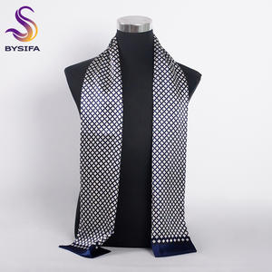 BYSIFA Men Silk Scarf Muffler Winter 100% Male Plaid Long