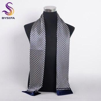 [BYSIFA] hombres de la marca bufanda de seda del silenciador invierno accesorio de moda 100% pura seda larga a cuadros masculino bufandas corbata azul marino azul 160*26 cm