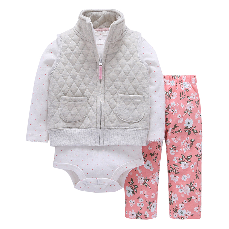 baby girl clothes cotton gray vest with pocket +dot Long sleeve romper+floral pants 2018 spring outfit newbron baby boy costume