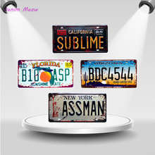CALIFORNIA SUBLIME Vintage Car License ASSMAN Metal PlateS Wall Art Craft Iron Painting for Bar Cafe Garage Posters WY46