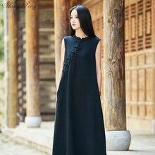 2019 summer chinese traditional dress women cotton linen Cheongsam sleeveless loose dress qipao V1586