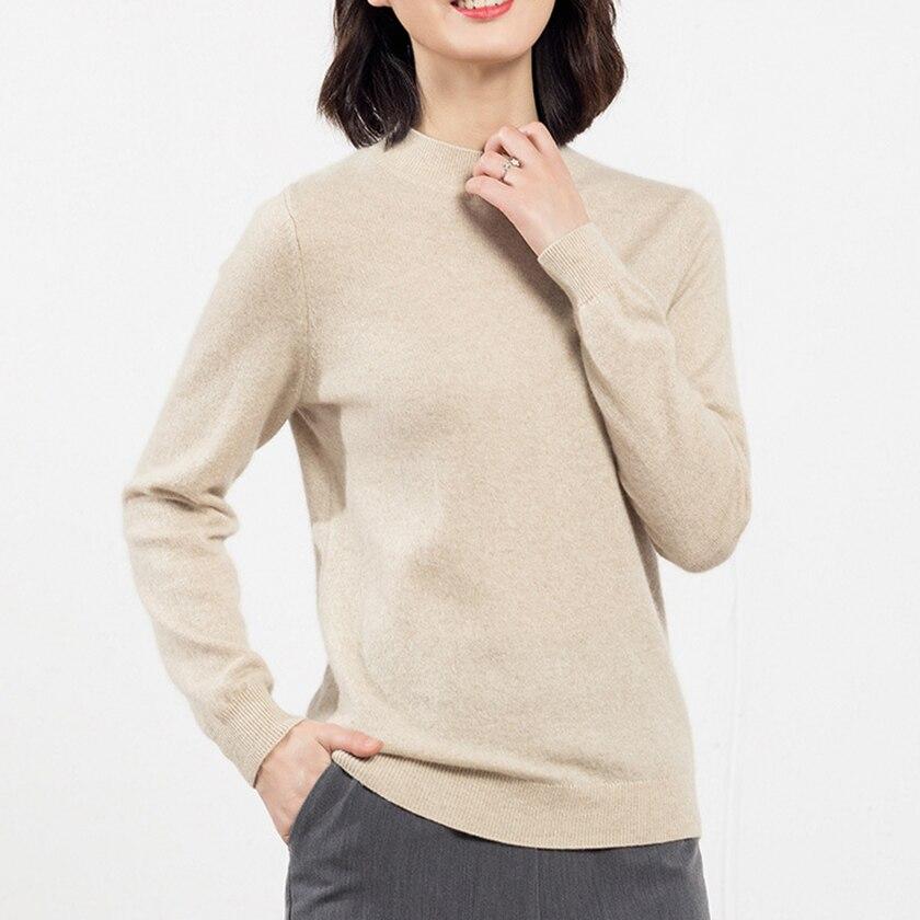 100% naturel cachemire chandails et pulls pour les femmes demi col roulé et à manches décontracté automne hiver femme marque pulls
