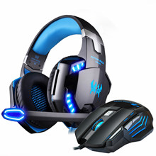 Gaming Headphones Headset wired Stereo with microphone big Earphone +Gaming Mouse 5000 DPI Mice Wired USB for PC Pro Gamer(China)