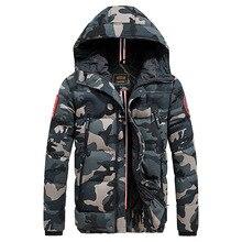 Camuflagem casual jaqueta de inverno masculina grossa quente casaco masculino camo com capuz algodão à prova de vento parka militar dos homens